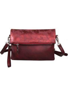 436 BURGUNDY - Burgundy Two Tone Cross Body Bag