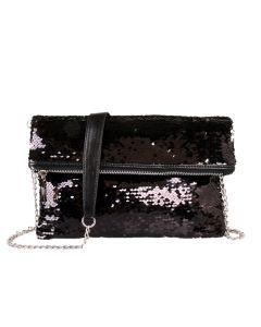 446 BLACK - Black Foldover Sequin Clutch
