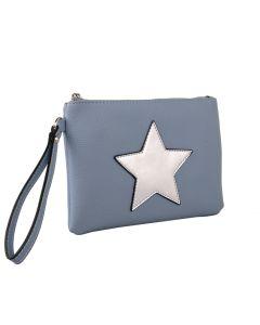506 DUSKY BLUE - Dusky Blue Clutch with Star Detail