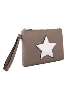 506 SILVER - Taupe Clutch with Star Detail