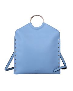 568 BLUE - Blue Metal Circle Handle Shopper Bag