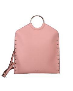 568 PINK - Pink Metal Circle Handle Shopper Bag
