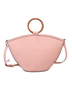 574 PINK - Pink Wooden Handle Tote Bag