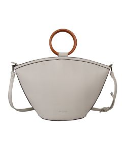 574 SILVER - Silver Wooden Handle Tote Bag