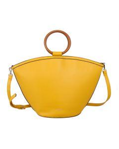 574 YELLOW - Yellow Wooden Handle Tote Bag