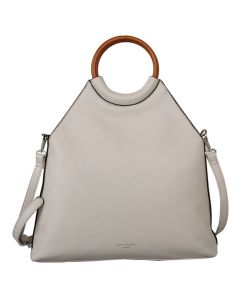 575 SILVER - Silver Wooden Handled Tote Bag