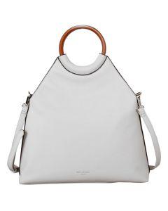 575 WHITE - White Wooden Handled Tote Bag