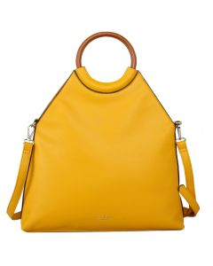 575 YELLOW - Yellow Wooden Handled Tote Bag