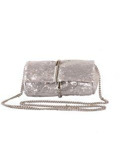 583 SILVER - Silver Sequin Clutch Bag