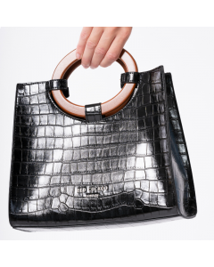 710 BLACK - Black Croc Effect Tote with Wooden Handles