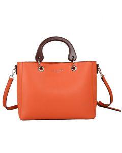 611 ORANGE - Orange Wooden Handle Tote Bag