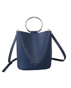 623 NAVY - Navy Bucket Bag with Hoop Handles