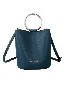 623 TEAL - Teal Bucket Bag with Hoop Handle