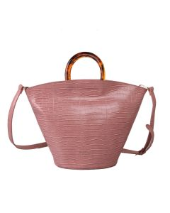 641 PINK - Pink Croc Effect Tote