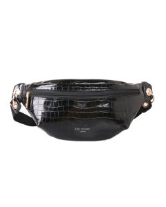 646 BLACK - Black Crocodile Effect Bum Bag