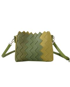 649 GREEN - Green Cross Body Bag With Vertical Zig Zag Gradient Effect