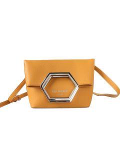 661 MUSTARD- Mustard Hexagon Fold Over Cross Body