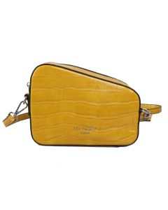 696 YELLOW - Yellow Croc Effect Diagonal Cross Body Bag