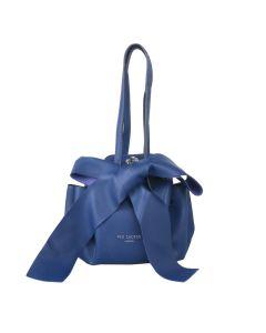 698 BLUE - Blue Round Shoulder Bag with Bow Detail