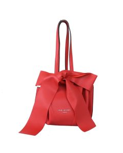 698 CORAL - Coral Round Shoulder Bag with Bow Detail