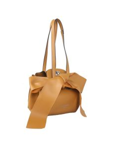 698 YELLOW - Yellow Round Shoulder Bag with Bow Detail