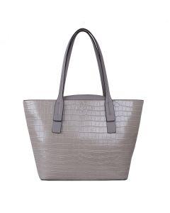 704 SILVER - Silver Croc Effect Shopper