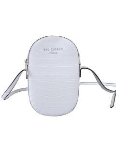 707 WHITE - White Croc Effect Cross Body Bag