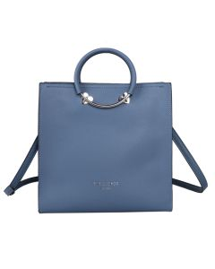 708 BLUE - Blue Square Tote with Heart Details