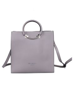 708 SILVER - Silver Square Tote with Heart Details