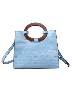 710 BLUE - Blue Croc Effect Tote with Wooden Handles