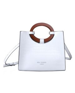 710 WHITE - White Croc Effect Tote with Wooden Handles