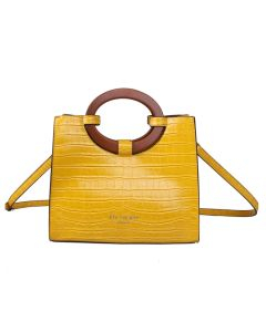710 YELLOW - Yellow Croc Effect Tote with Wooden Handles