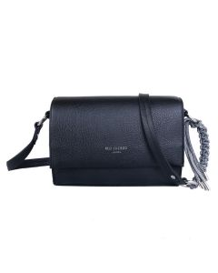 734 BLACK - Black Foldover Crossbody Bag