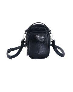 740 BLACK - Black Double Pocket Cross Body Bag
