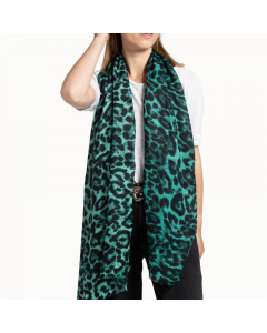 A001 GREEN - Leopard Print Scarf Green