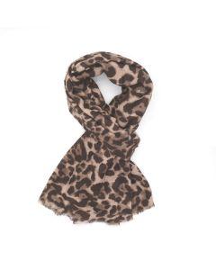 A001 BROWN - Leopard Print Scarf Brown