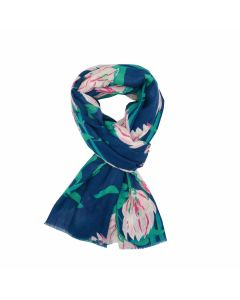 A002 NAVY - Protea Flowers Scarf Navy