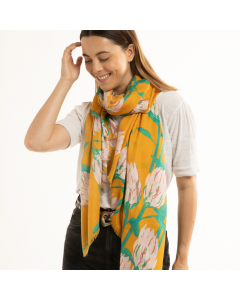 A002 YELLOW - Protea Flowers Scarf Yellow