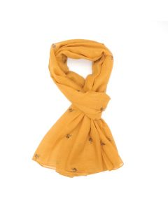 A004 MUSTARD - Bee Outlines Scarf Mustard