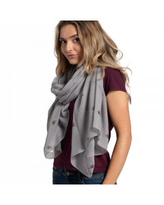 A004 MID GREY - Bee Outlines Scarf Mid Grey
