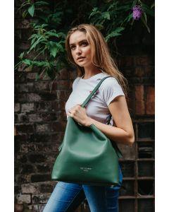 659 GREEN- Green Tassel Shoulder Tote Bag