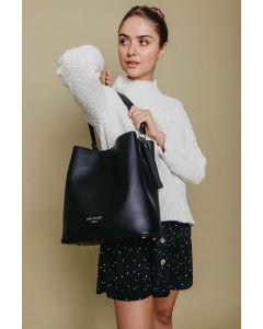 659 BLACK- Black Tassel Shoulder Bag