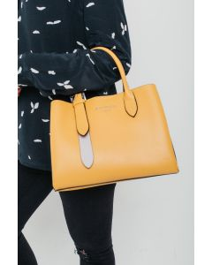 729 YELLOW - Yellow Tote with Silver Buckle