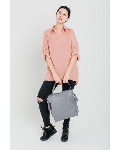 700 GREY - Grey Shoulder Bag with Tassel Design