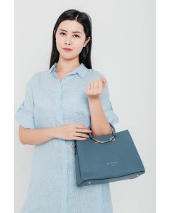 709 BLUE - Blue Tote with Heart Detail