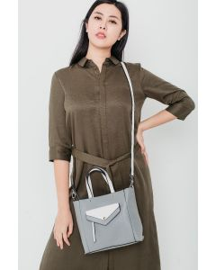 725 GREY - Grey Tote with White Details