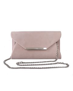 PP107 DUSKY PINK - Dusky Pink Suede Clutch with Metal Edge