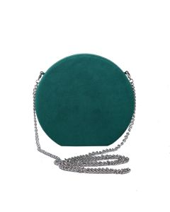 PP109 GREEN - Suede Effect Green Round Magnetic Clutch