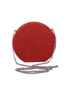 PP109 ORANGE - Suede Effect Round Orange Magnetic Clutch