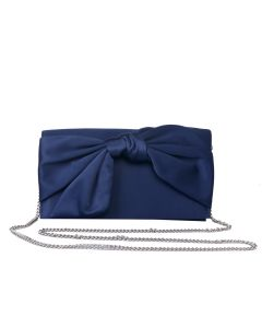 PP112 NAVY - Navy Satin Bow Clutch